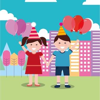 Kinder alles gute zum geburtstag feier mädchen und jungen