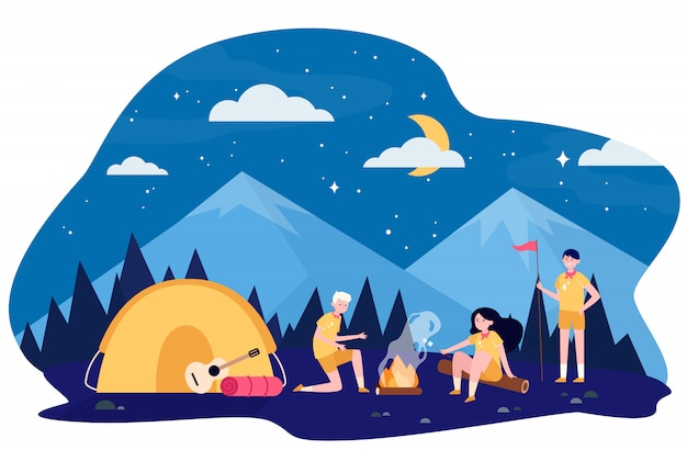 Kinder am lagerfeuer im bergwald