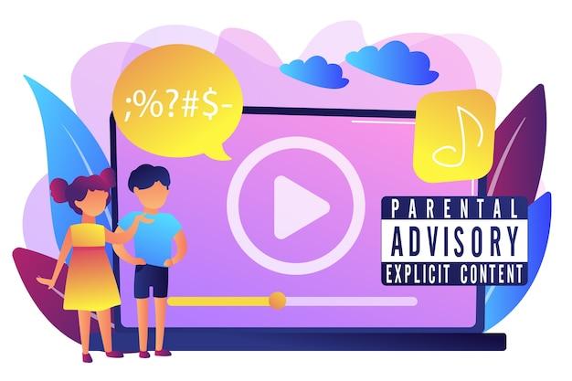 Kinder am laptop hören musik mit warnung des elterlichen hinweisetiketts. elternberatung, expliziter inhalt, warnschild-konzept für kinder. helle lebendige violette isolierte illustration