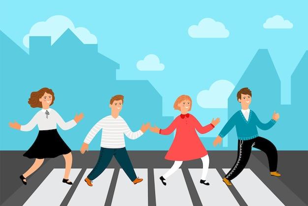 Kinder am scheideweg. gruppe freudige kinder überqueren straße