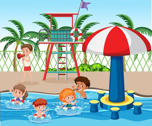 Kinder am schwimmbad
