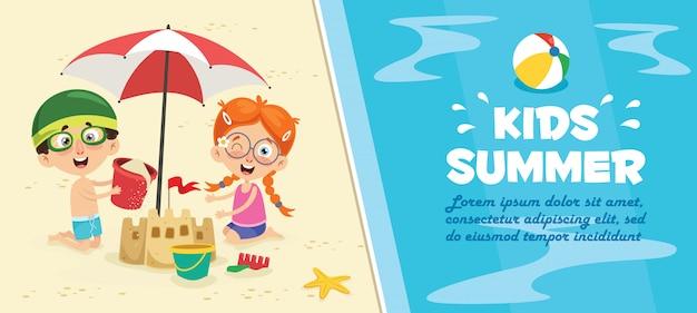 Kinder am strand banner