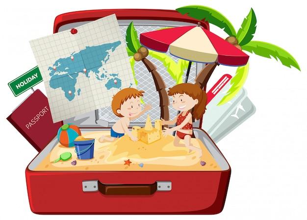 Kinder am strand im gepäck