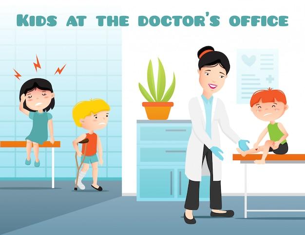 Kinder an der doktorbürokarikatur-vektorillustration mit kinderarzt und schreiender kranker vektorillustration des kranken jungen und des mädchens