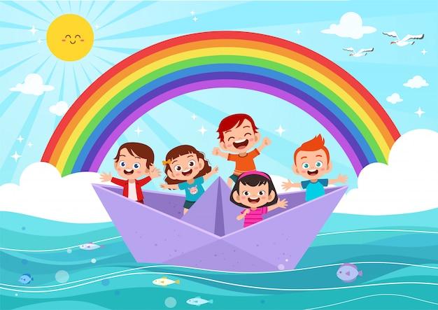 Kinder auf dem papierschiff