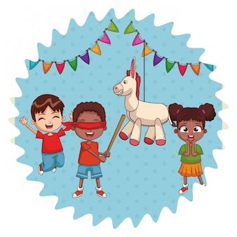 Kinder auf der geburtstagsfeier