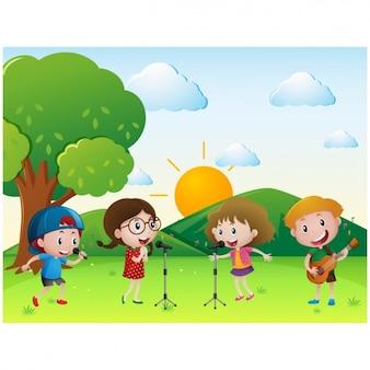 Kinder auf der wiese zu singen