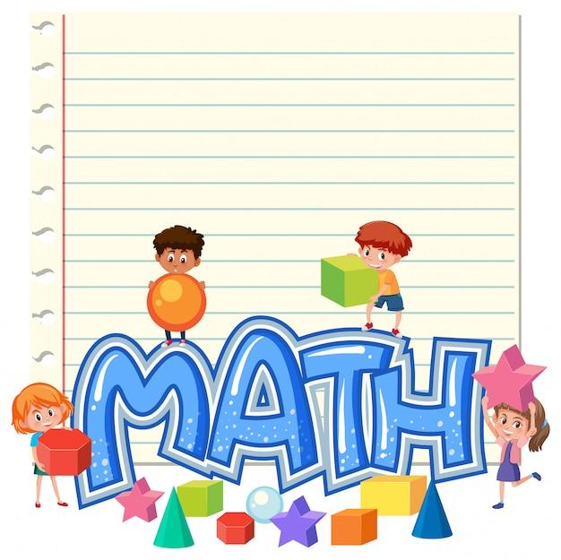 Kinder auf mathe-notizvorlage