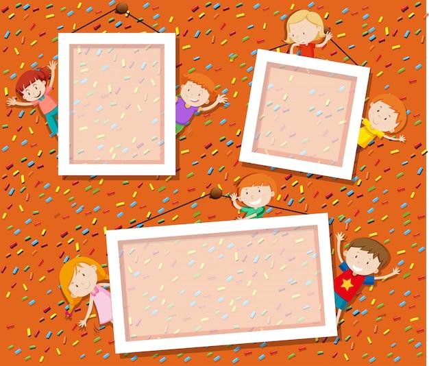 Kinder auf niedlichen fotorahmen