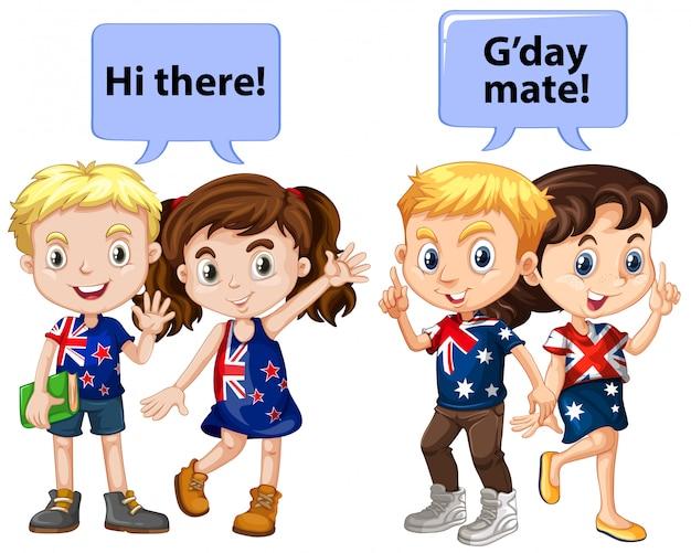 Kinder aus neuseeland und australien