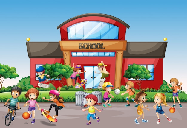 Kinder außerhalb der front school