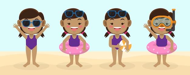 Kinder avatar bereit für sommer premium