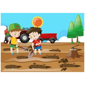 Kinder bäume hintergrund impfen