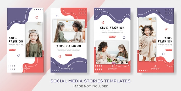 Kinder banner vorlage geschichten für mode verkauf Premium Vektoren