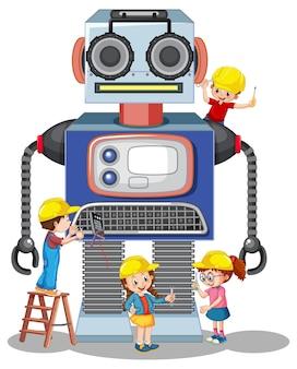 Kinder bauen roboter zusammen auf weißem hintergrund