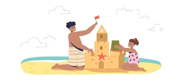 Kinder bauen sandburg am strand. glückliche kleine kinder, die zusammen im freien spielen, haben spaß im sommerurlaub auf see. flache vektorillustration der karikatur
