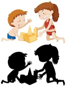 Kinder bauen sandburg in farbe und ihrer silhouette