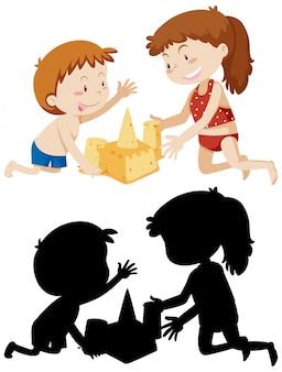 Kinder bauen sandburg in farbe und seiner silhouette