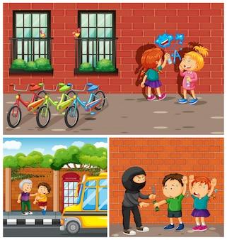 Kinder begehen verbrechen in der nachbarschaft