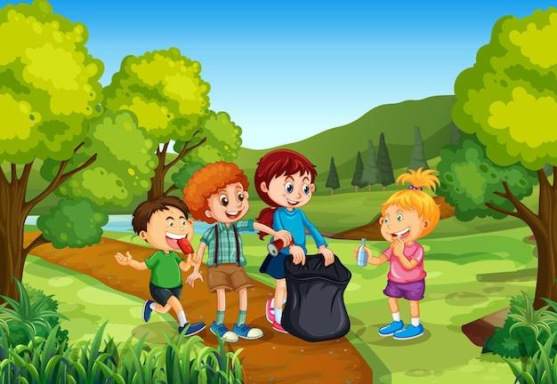 Kinder bei unserer tür natur hintergrund
