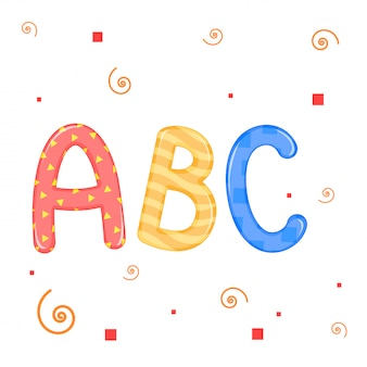 Kinder beschriftet weiße hintergrundvektorgrafik abc