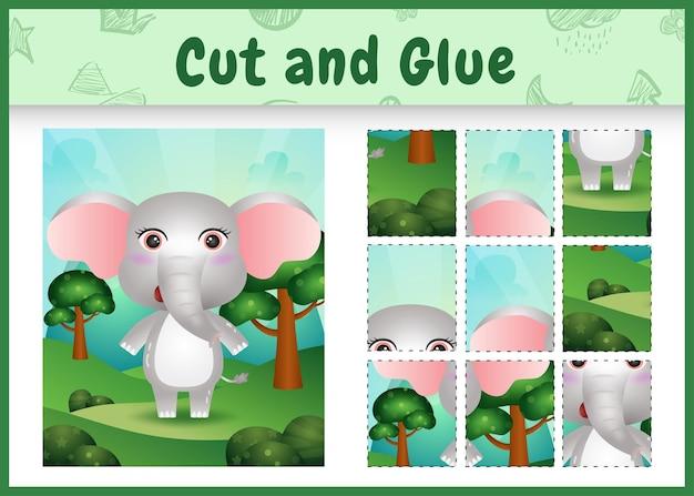 Kinder-brettspiel schneiden und kleben mit einem niedlichen elefanten