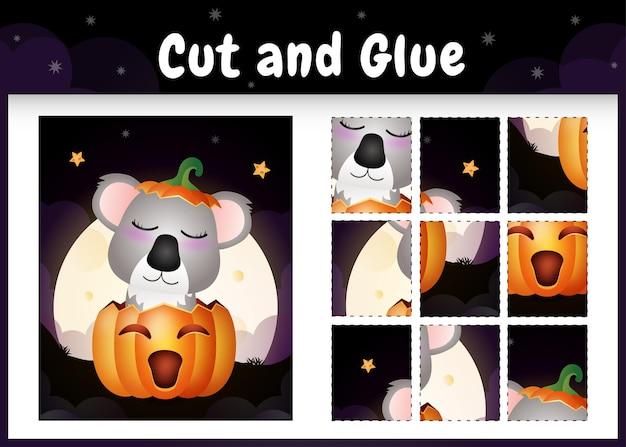 Kinder-brettspiel schneiden und kleben mit einem niedlichen koala im halloween-kürbis