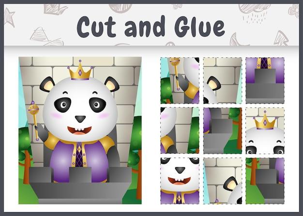 Kinder brettspiel schneiden und kleben mit einem niedlichen könig panda charakter