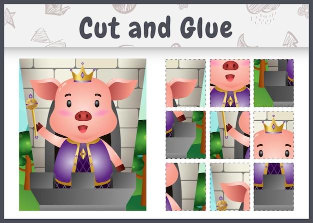 Kinder brettspiel schneiden und kleben mit einem niedlichen könig schwein schwein charakter