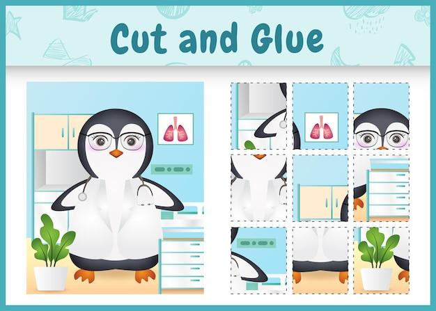 Kinder brettspiel schneiden und kleben mit einem niedlichen pinguin-doktor-charakter