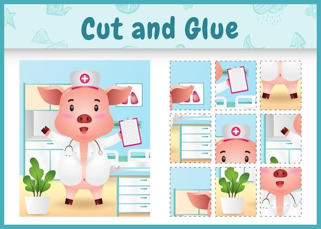 Kinder brettspiel schneiden und kleben mit einem niedlichen schwein unter verwendung von kostümkrankenschwestern
