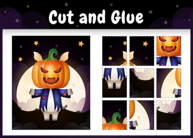 Kinder-brettspiel schneiden und kleben mit einem süßen nashorn im halloween-kostüm