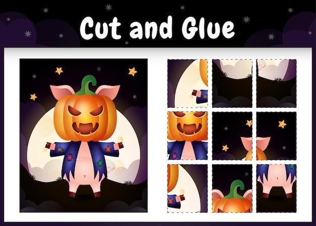 Kinder-brettspiel schneiden und kleben mit einem süßen schwein im halloween-kostüm