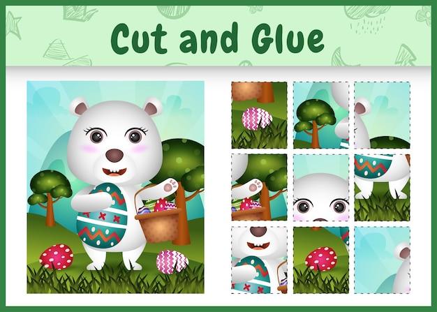 Kinder brettspiel schneiden und kleben thematische ostern mit einem niedlichen eisbären, der das eimerei und das osterei hält