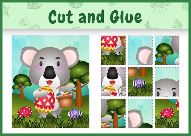 Kinder brettspiel schneiden und kleben thematische ostern mit einem niedlichen koala, der das eimerei und das osterei hält