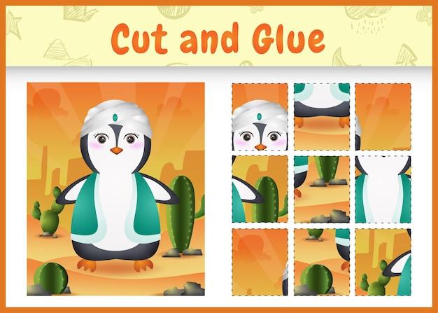 Kinder brettspiel schneiden und kleben themenorientierte ostern mit einem niedlichen pinguin unter verwendung der arabischen traditionellen tracht