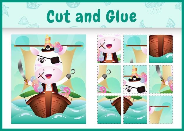 Kinder brettspiel schneiden und kleben themenorientierte ostern mit einem niedlichen pirateneinhorncharakter auf dem schiff