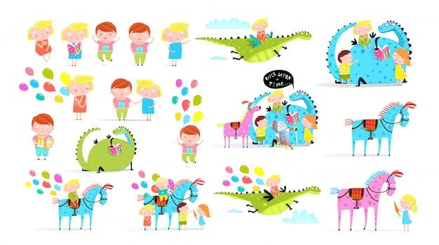 Kinder buchen flache illustrationen gesetzt. kleiner junge mit luftballons im aufkleberpaket des vergnügungsparks. glückliches mädchen, das drachen reitet. karnevalspferde isolierten cliparts. kleinkind liest märchen