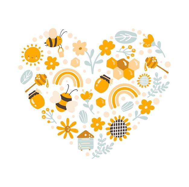 Kinder bunte liebe vektor handgezeichnete reihe von honig-cartoon-doodle-objekten. babysymbole und gegenstände.
