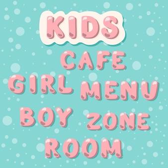 Kinder, café, menü, zone, zimmer, mädchen, junge.