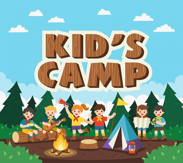 Kinder campen draußen im park. camping kinderkonzept. sommercamp bildungswerbung. illustration.