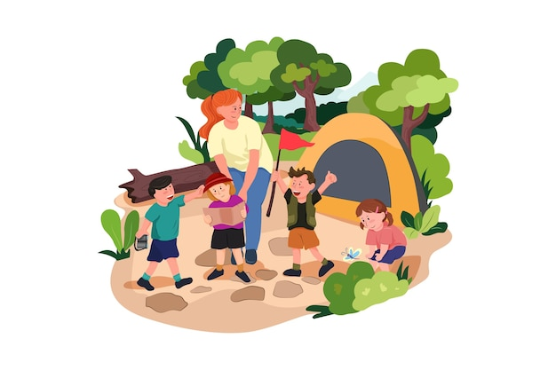 Kinder campen draußen im park