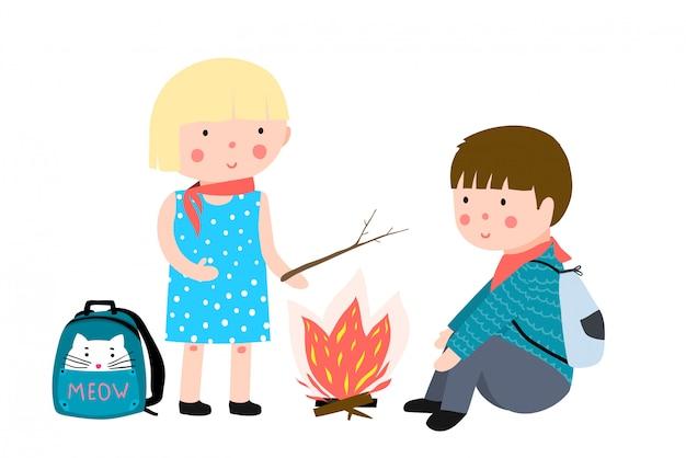 Kinder camping feuer