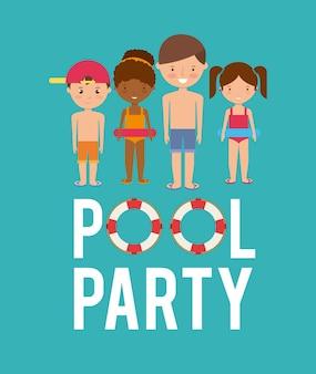 Kinder cartoon und schwimmer symbol