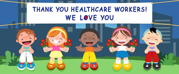 Kinder danken dem team von ärzten, krankenschwestern und medizinischem personal, das in den krankenhäusern arbeitet und gegen das coronavirus kämpft (covid-19).