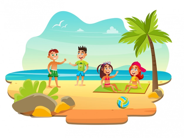 Kinder, die am strand nahe ozean am lager ausruhen.