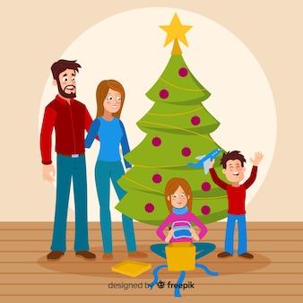 Kinder, die anwesenden weihnachtshintergrund öffnen