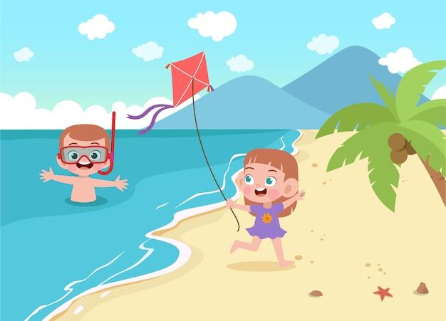 Kinder, die auf der strandillustration spielen
