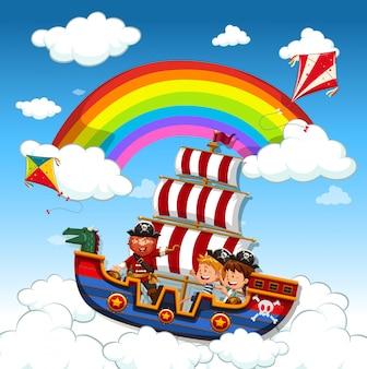 Kinder, die auf wikingerschiff im himmel fahren