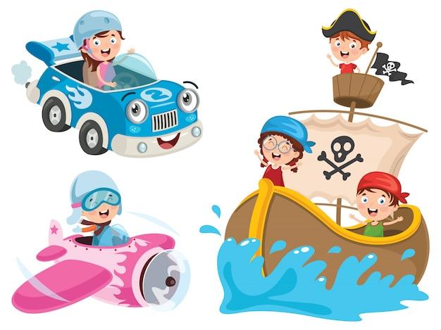 Kinder, die auto, piratenschiff und flugzeug verwenden
